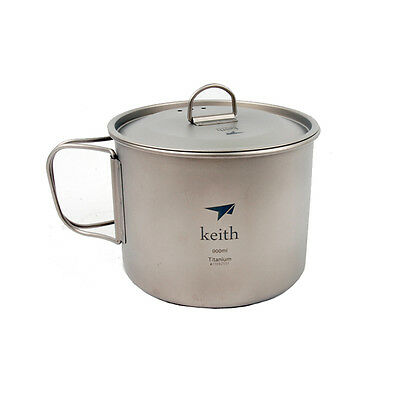 900ml Titanium Cup with Cover Ultralight Camping Cup Outdoor Mug Ti3209