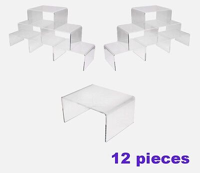 "Clear Acrylic risers display 12 pieces plinth stand set 4"" Wide Super Quality"