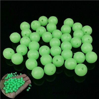 100 Count PVC Green Fishing Beads Round Fluorescent Fishing Lure Fishing Tackle