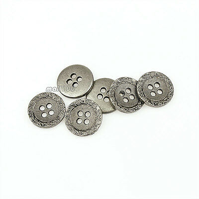 12pcs Antique Silver Metal Round 15mm 4 holes Shirt Button For Sewing Crafts