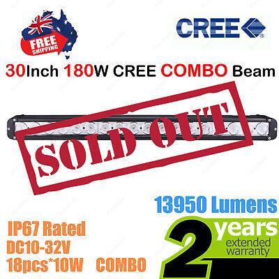 30inch 180W CREE LED Light Bar Work COMBO Beam SINGLE ROW Truck ATV SUV 4WD Car