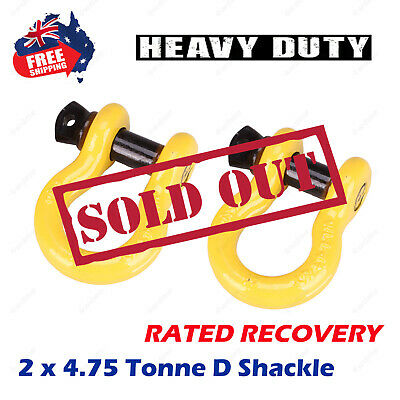 "2 x 4.75Ton Rated 3/4"" 19mm Bow Shackle 4X4 4WD D-Ring RECOVERY WINCH HEAVY DUTY"