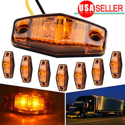 8X 2Diode LED Light  Amber Universal Surface Mount Clearance Side Marker Trailer