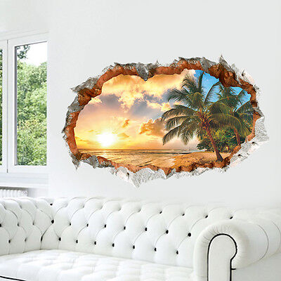 3D Beach Sunshine Wall Sticker Decal Art Decor Vinyl Home Room Window Door UP