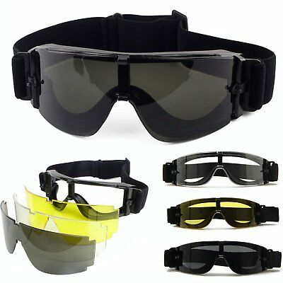 USMC Military Airsoft UV-400 Shooting Glasses Safety Goggles Eye Wear 3 Lens