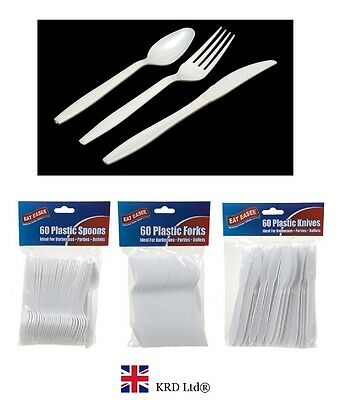 HEAVY DUTY DISPOSABLE CUTLERY White Plastic Spoons - Knives - Forks Party BBQ