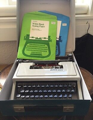 Vintage Olivetti Dora Manual Typewriter with Bond Typing Papers - Collectors