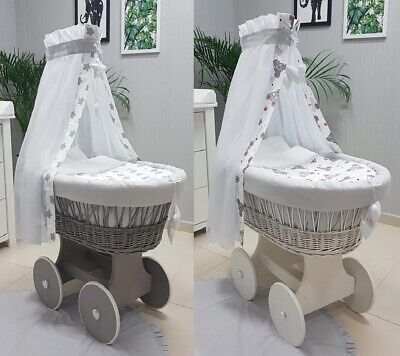 Wicker Moses Basket + Stand + Big Wooden Wheels + Bedding + Drape Mice Stars