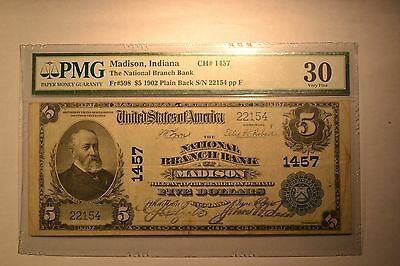 Madison, IN - $5 1902 Plain Back Fr. 598 The National Branch Bank Ch. # 1457