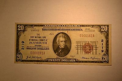 Plymouth, IN - $20 1929 Ty. 1 The First NB of Marshall County Ch. # 2119
