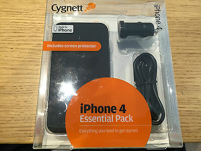 Cygnett iPhone 4 / 4S Essential Pack BlackFrost Case Car Charger USB Cable & SP