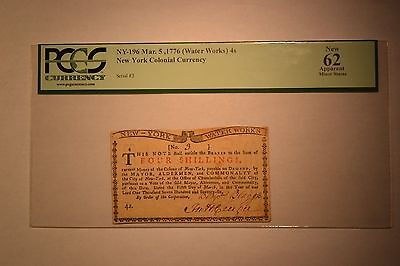 New York March 5, 1776 (Water Works) 4s PCGS Apparent New 62.