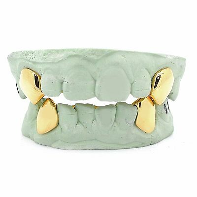 Custom 14k Gold Grillz Plated Silver K9 Fangz Vampire 2 Top or Bottom Gold Caps