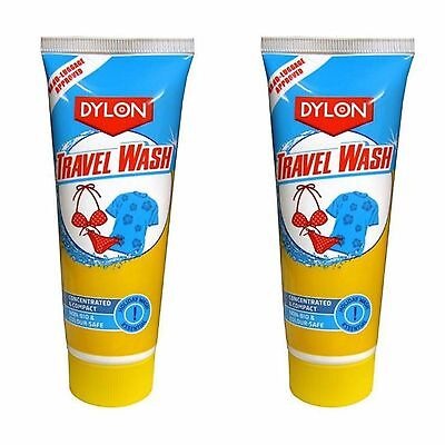 2 X Dylon Travel Wash Concentrated Holiday Wash 75Ml Suitable For Hand Luggage