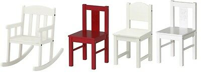 Ikea Nursery Home Kids Childrens Wooden Chair,Rocking Playing Chair,White & Red