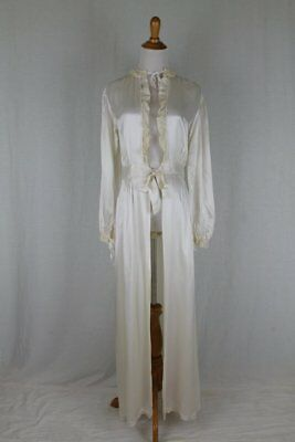 Vintage 1930's Candlelight Satin Dressing Gown Peignoir French Lace Trim M 38