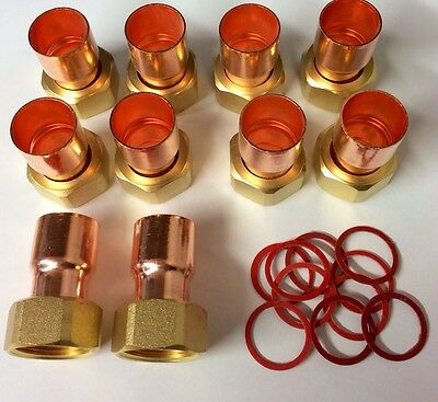 """Joblot Bargain!!    10 X End Feed Copper 22Mm X 3/4"""" Tap Connectors + Washers"""