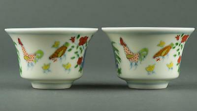 Pair Chinese Doucai Porcelain Cups Painted Chicken