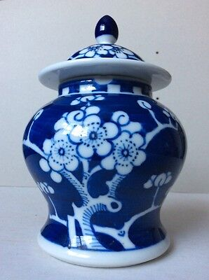Vintage Oriental Blue & White Blooming Flowers Painted Ginger Jar