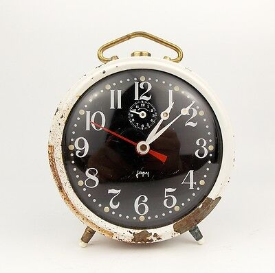 Vintage 1950s JAPY FRANCE Chrome Alarm clock Retro Old Desk table watch decor
