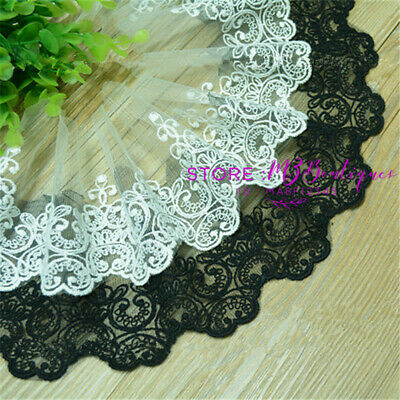 1 yard Embroidered Tulle Lace Trim Wedding Ribbon Appliques crafts Sewing FL121