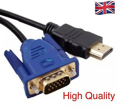 VGA MALE To HDMI Male VIDEO CONVERTER ADAPTER CABLE For 1080P HDTV PC DVD -1.8M