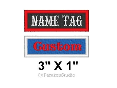 """Custom Embroidered Name Tag Title Patch Motorcycle Biker MC Badge 3"""" X 1"""" (B)"""