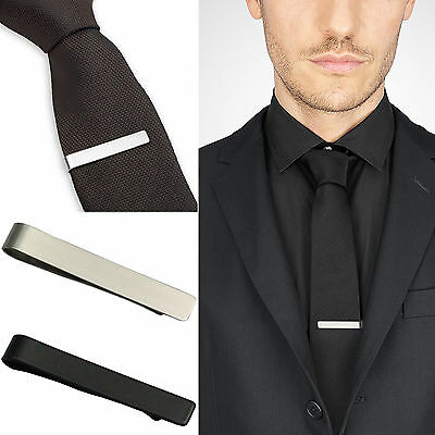 WOW New Mens Stainless Steel Silver Tone Simple Necktie Tie Bar Clasp Clip Clamp