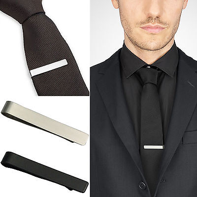 Wow Mens Stainless Steel Silver Tone Simple Necktie Tie Bar Clasp Clip Clamp