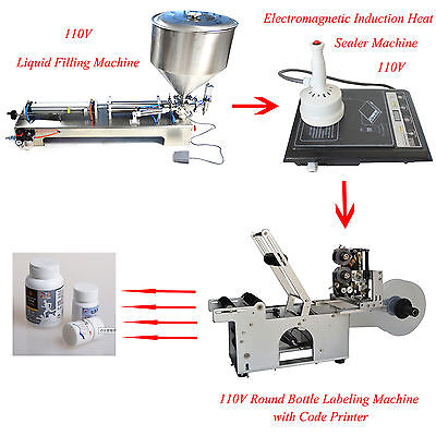 Round Bottle Filling + Sealing + Labeling + Printing Machine Package Equipment