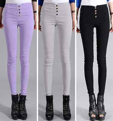 Women High Waist Skinny Stretch Slim Fit Pencil Pants Trousers Leggings Jeggings