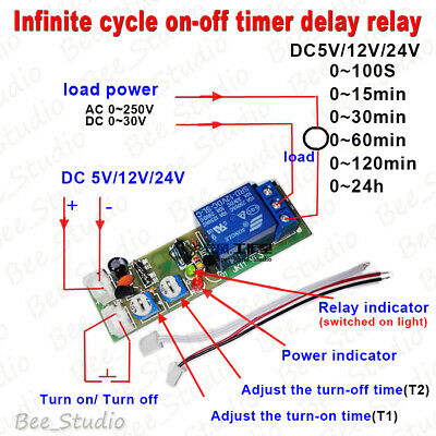 5V 12V 24V Infinite Cycle Delay Time Timer Relay Turn ON OFF Switch Loop Module