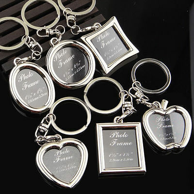 Creative Metal Alloy Insert Photo Picture Frame Keyring Keychain Fob LOVE Gifts