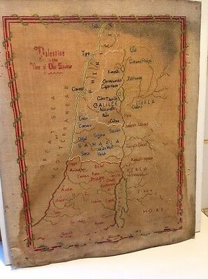 Antique Jerusalem Palestine embroidered map Middle East 19th (m1322)