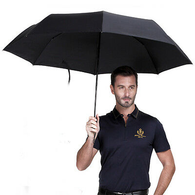 Men's Auto Open & Close Black Folding Umbrella w/ Fiberglass Windproof  Frame