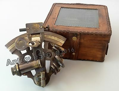 """Nautical Sextant Brass Marine Collectible Working Maritime with Leather Box 4"""""""