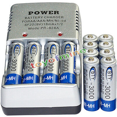12 AA battery batteries Bulk Rechargeable NI-MH 3000mAh 1.2V BTY + Smart Charger