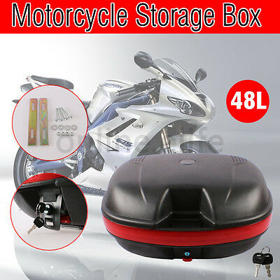 New 48L Motorcycle Universal Scooter Top Tail Box Rear Storage Luggage + 2 Keys