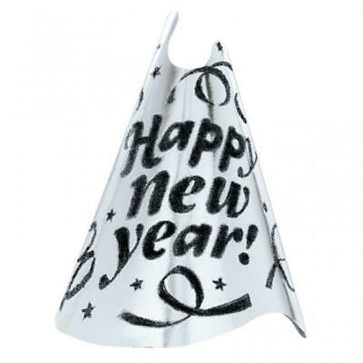 24 x Happy New Year Silver Foil Hats