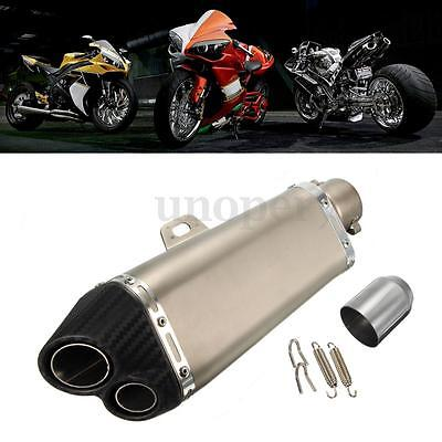 38-51mm Moto Quad Tubo Scarico Exhaust Muffler Pipe Carbon Stainless Steel Dual