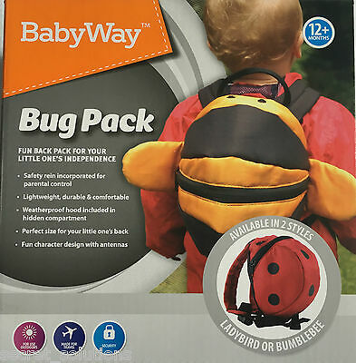 New Toddler Bumble Bee or Ladybird Back Pack + Parent Handle Safety Reins 12m+