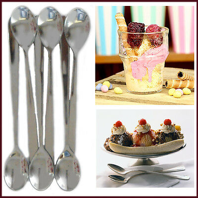 Spoons Stainless Steel Mocha Sundae Long Party Spoon 6x Ice Cream Latte Dessert