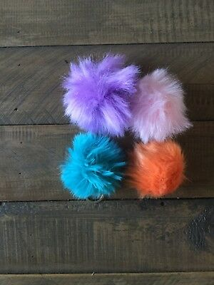 Faux Fur Pom Pom Keychain Hangers Fashion Accessories X100 Mixed Colours
