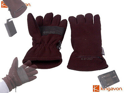 Kingavon Battery Electric Heated Gloves Mens Thermal Fleece Thinsulate Thermal
