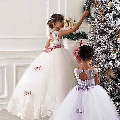 Girls Party Flower Formal Wedding Princess Prom Bridesmaid Christening Dress Bow