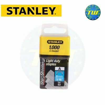 Stanley Light Duty Staple 8mm 1000pc Type A Sharpshooter 0-TRA205T STA0TRA205T
