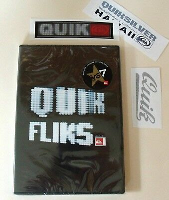 QUICKSILVER Quick Films DVD & Sticker Lot Surf Skateboard Snowboard NEW