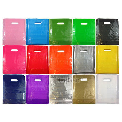 "100 COLOR PLASTIC CARRIER BAGS GIFT FASHION SHOP STRONG PATCH HANDLE 15""x18""+3"""
