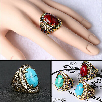 Ring Finger Rings Kallaite Collectible Handwork Inlay Noble Vintage Gem Diamond