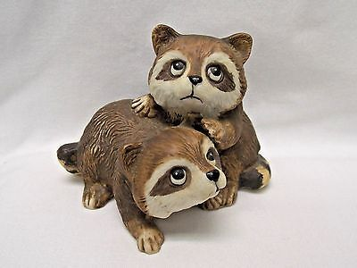 Two Young Racoons Together Porcelain Material Figurine Made by Homco #1454